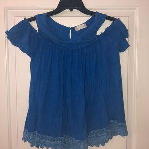 Beautiful blue cold shoulder shirt